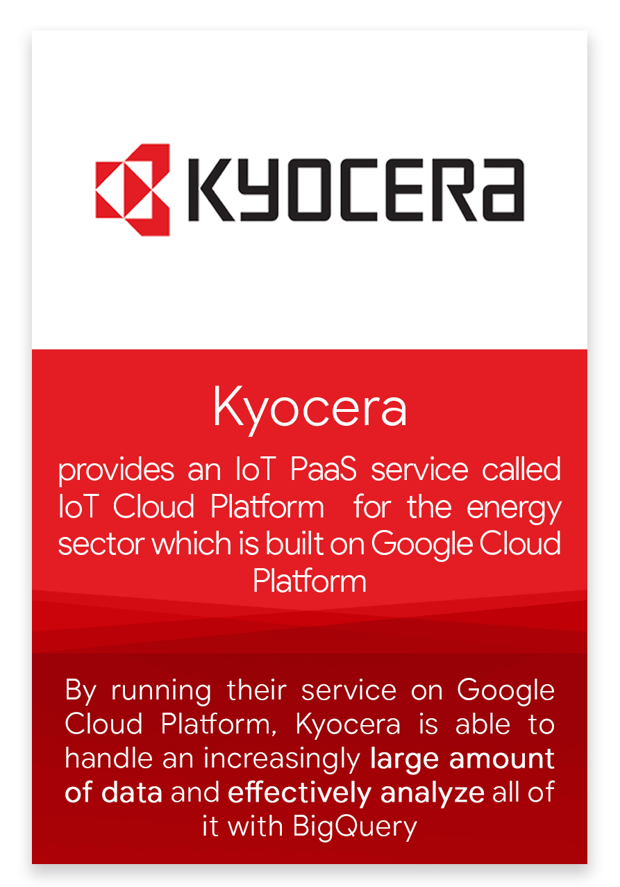 By running their service on Google Cloud Platform Kyocera is able to handle an increasingly large amount of data and effectively analyse all of it with BigQuery.